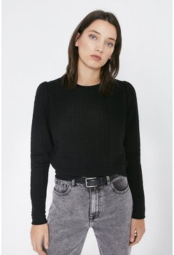 Black Quilted Check Puff Sleeve Sweat
