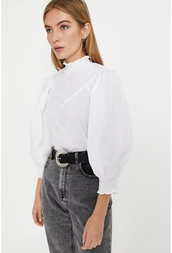 White Puff Sleeve Smock Detail Top