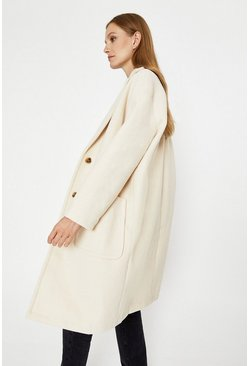 Ivory Patch Pocket Single Breasted Coat