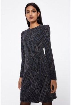 Black Glitterball Zig Zag Dress
