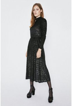 Black Animal Burnout Velvet Midi Dress