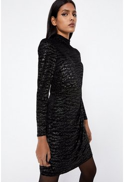 Black Animal Foil Burnout High Neck Mini Dress