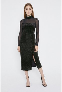 Black Rainbow Glitter Velvet Mesh Midi Dress