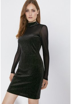 Black Rainbow Glitter Velvet Mesh Mix Dress