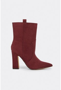 Berry Suedette Mid Calf Boot