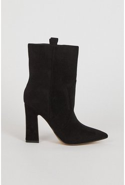 Black Suedette Mid Calf Boot