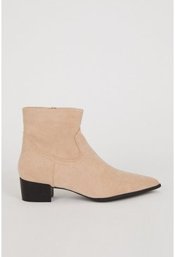 Sand Suedette Ankle Boot