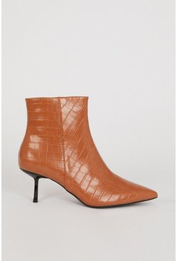 Tan Croc Pixie Ankle Boot