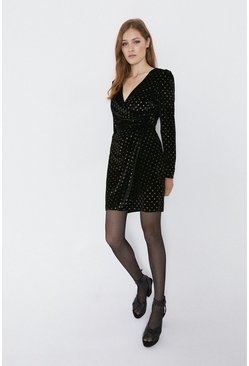 Black Foil Spot Velvet Wrap Dress