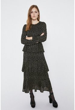 Black Metallic Spot Tiered Midi Dress