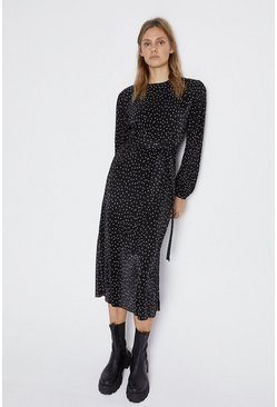 Mono Spot Balloon Sleeve Plisse Dress