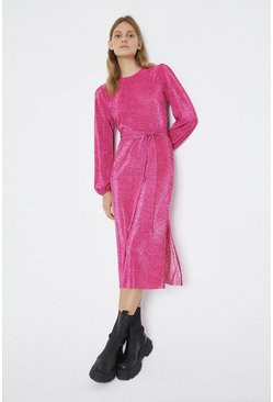 Pink Spot Balloon Sleeve Plisse Dress