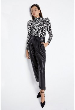 Black Dogstooth Long Sleeve Top