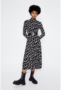Black Giraffe Print Midi Dress