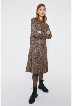 Animal Printed Tiered Hem Smock Midi Dress