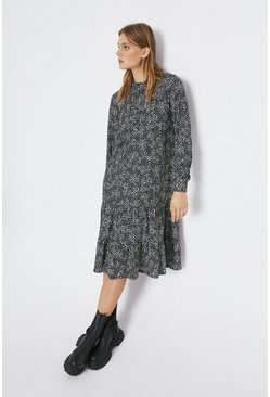 Black Printed Tiered Hem Smock Midi Dress