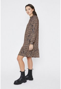 Animal Printed Tiered Hem Smock Mini Dress