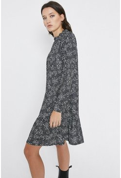 Black Printed Tiered Hem Smock Mini Dress