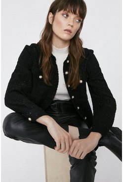 Black Tweed Oversized Tailored Shirts