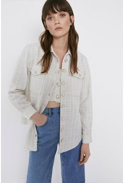 Ivory Tweed Oversized Tailored Shirts