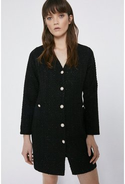 Black Tweed Mini Blazer Dress