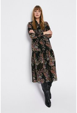Multi Paisley Tie Neck Oversized Midi Dress