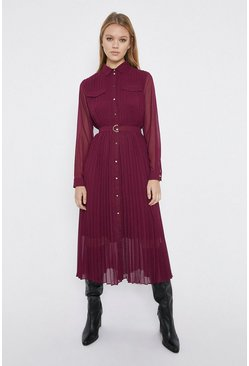 Berry Pleated Midi Shirt Dress