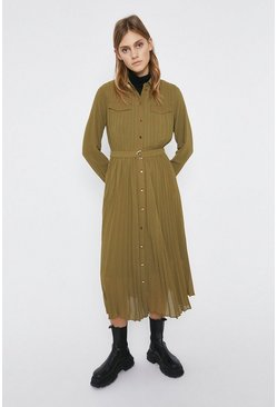 Olive Pleated Midi Shirt Dress
