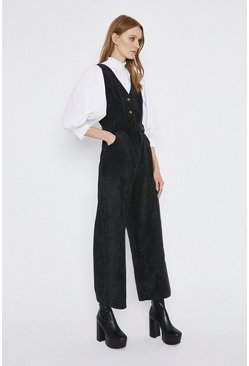 Black Cord Belted Button Front Jumpsuit