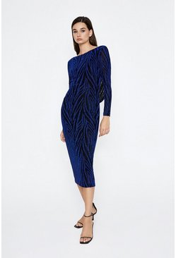 Cobalt Metallic Animal Cowl Back Dress