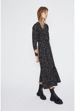 Black Printed Tiered Hem Midi Dress
