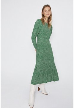 Green Printed Tiered Hem Midi Dress