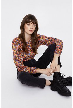 Multi Printed Shirred Long Sleeve Top