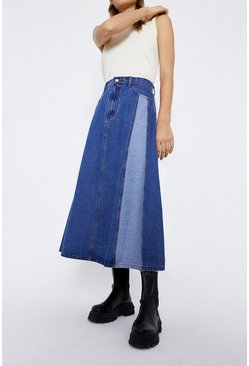 Mid wash Contrast Panel Drape Denim Skirt