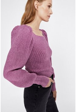 Purple Ribbed Square Neck Jumper