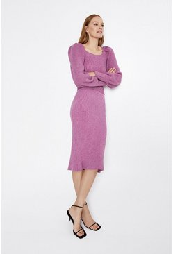 Purple Ribbed Knitted Midi Skirt