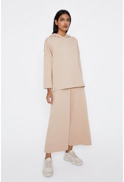 Camel Hooded Sweat And Wide Leg Lounge Set