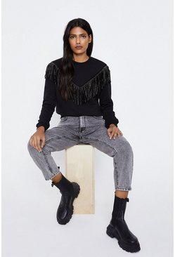 Black Fringe Sweatshirt