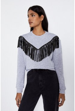 Dark grey Fringe Sweatshirt