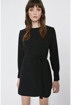Black Belt Detail Lip Shoulder Dress