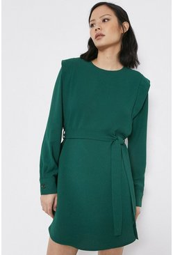 Green Belt Detail Lip Shoulder Dress