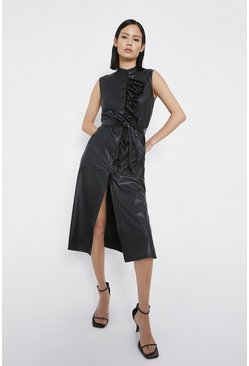 Black Frill Detail Faux Leather Midi Dress