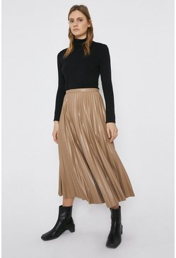 Tan Faux Leather Sun Ray Pleated Skirt