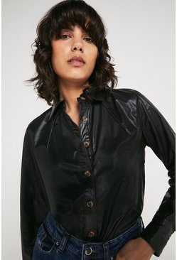 Black Faux Leather Button Detail Shirt