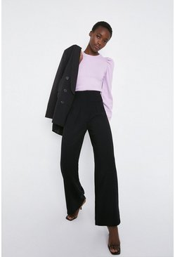 Black Wide Leg Crepe Tailored Trouser