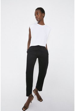 Black Straight Leg Tailored Jogger