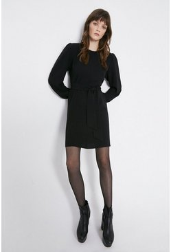 Black Soft Tie Belt Tailored Dress