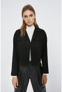 Black Edge To Edge Military Jacket