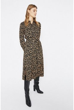 Animal Utility Detail Midi Shirt Dress