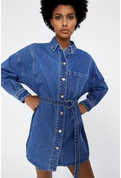 Mid wash Belted D Ring Denim Dress